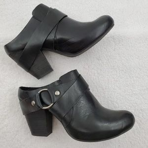 Kork Ease 7.5 38.5 Courtney Booties Heel Black Lea